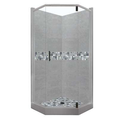 Newport Grand Hinged 32 in. x 36 in. x 80 in. Left-Cut Neo-Angle Shower Kit in Wet Cement and Black Pipe Hardware