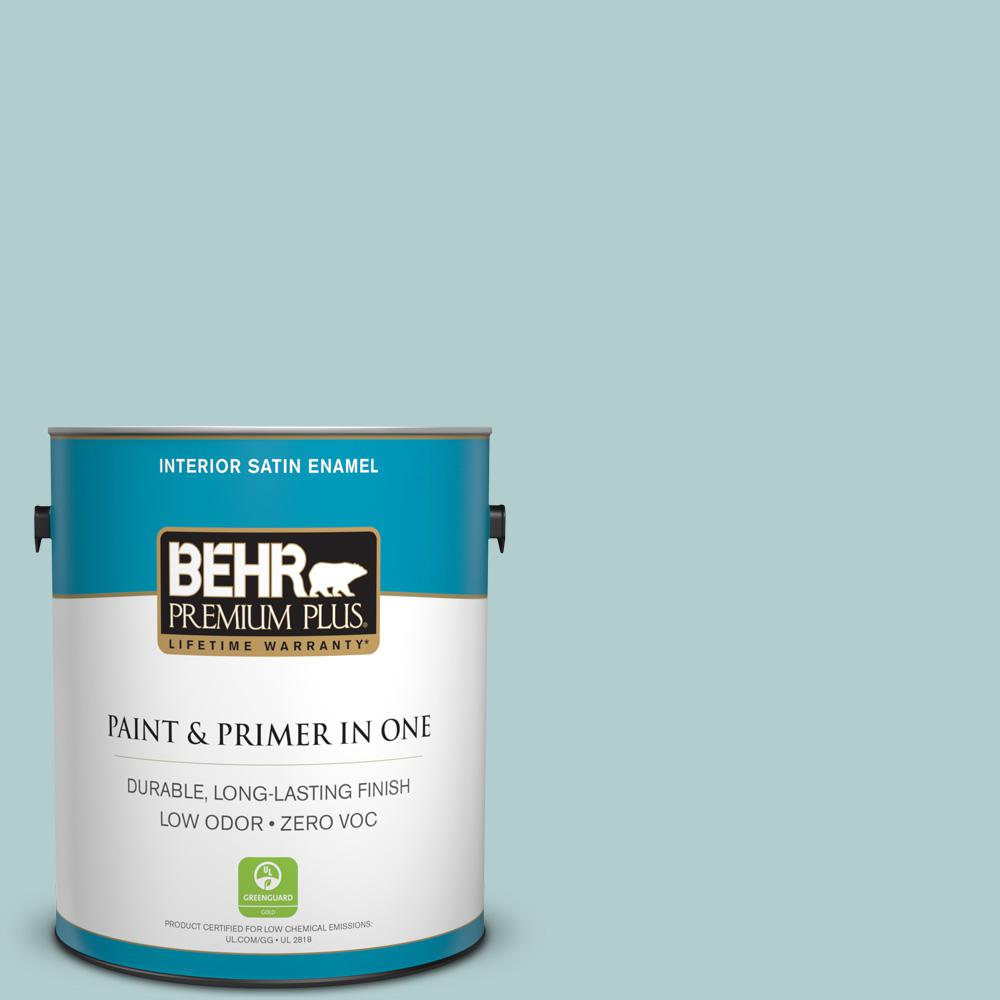 1 gal. #PPU13-15 Clear Pond Zero VOC Satin Enamel Interior Paint