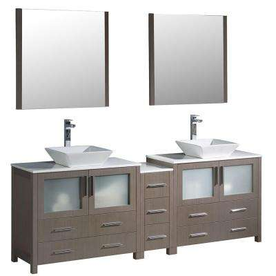Torino 84 in. Double Vanity in Gray Oak with Glass Stone Vanity Top in White with White Basins and Mirrors
