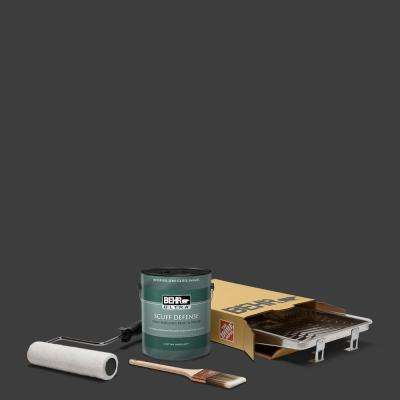 1 gal. Black Extra Durable Semi-Gloss Enamel Interior Paint and 5-Piece Wooster Set All-in-One Project Kit