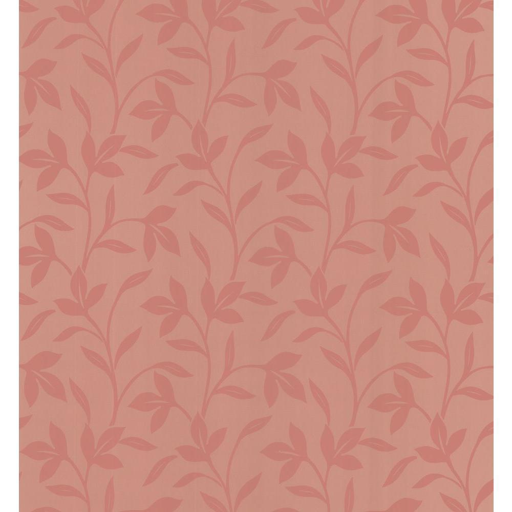 Simple Space Salmon Leaf Trail Wallpaper Sample