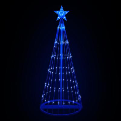 108 in. Christmas Blue LED Animated Lightshow Cone Tree with 274 Lights and Star Topper