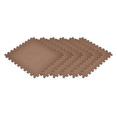 Brown 24 in. x 24 in. x 0.47 in. Foam Interlocking Floor Mat (6-Pack)