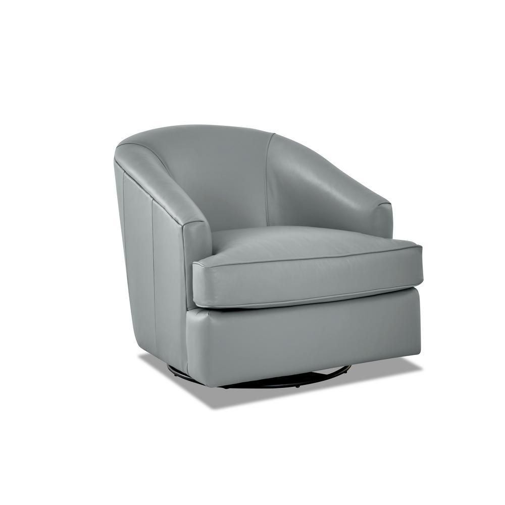 Lamar Leather Swivel Gliding Mist Accent Chair