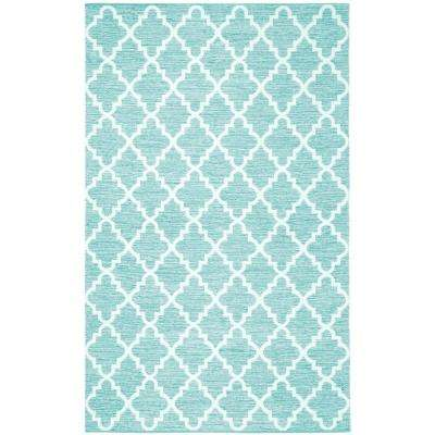 Montauk Teal/Ivory 5 ft. x 8 ft. Area Rug