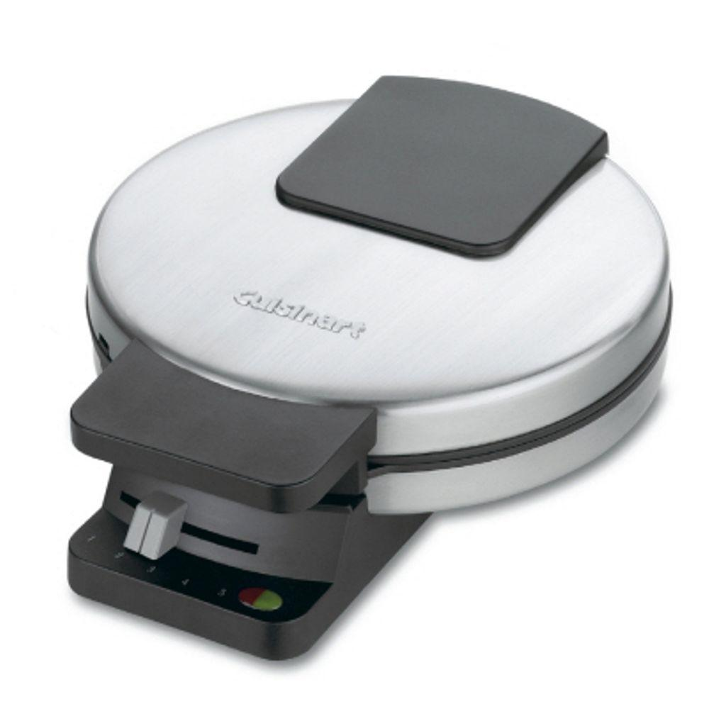 Cuisinart Single Waffle Black Stainless Steel American Waffle Maker, Stainless / Black Cooking Sunday breakfast for one or two becomes a pleasurable task with this compact waffle maker. Red and green lights indicate when to add batter and when the 7 in. round waffle is done. A regulating thermostat and a 5-setting control produce waffles perfectly browned to personal preference. With a brushed stainless steel exterior and sleek design, the waffle maker looks elegant in any kitchen and stores upright in compact spaces. The Non-Stick round plate is divided into 4-quarters and wipes clean easily. Color: Stainless / Black.