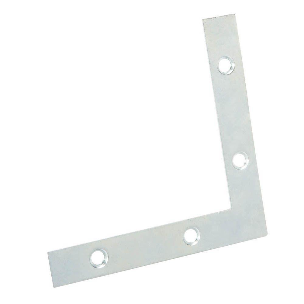 Everbilt 4 in. Zinc-Plated Flat Corner Brace (2-Pack)