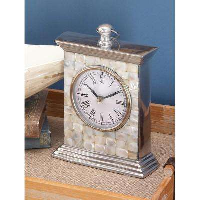 9 in. x 7 in. Aluminum and Mother of Pearl Table Clock