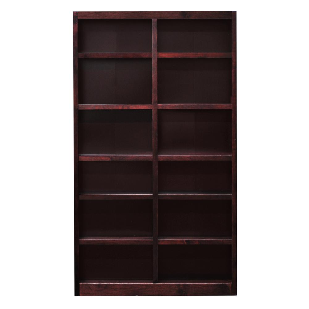Concepts In Wood Concepts In Wood Midas Double Wide 12-Shelf Bookcase in Cherry, Red