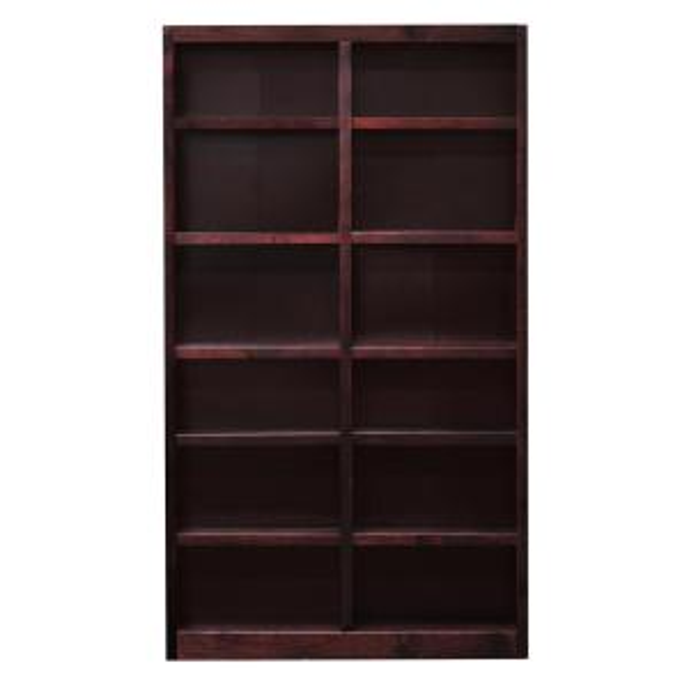 Midas Double Wide 12-Shelf Bookcase in Cherry