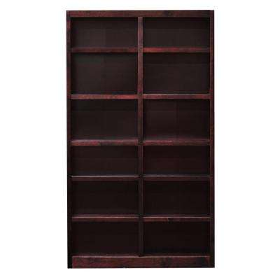 Midas Double Wide 12-Shelf Bookcase in Cherry