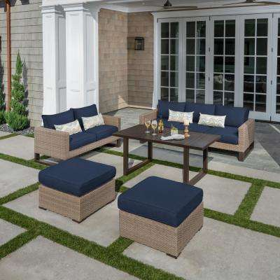 Park Heights 5-Piece Wicker Patio Deep Seating Set with Chow Height Table and Navy Cushions