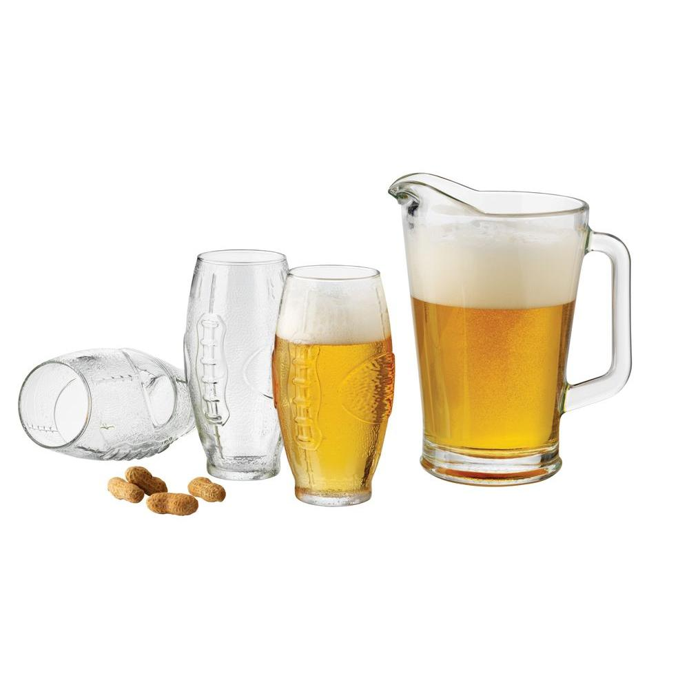 Libbey Football 7-Piece Pitcher and Tumbler Set in Clear