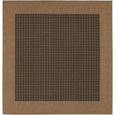 Recife Checkered Field Black-Cocoa 9 ft. x 9 ft. Square Indoor/Outdoor Area Rug