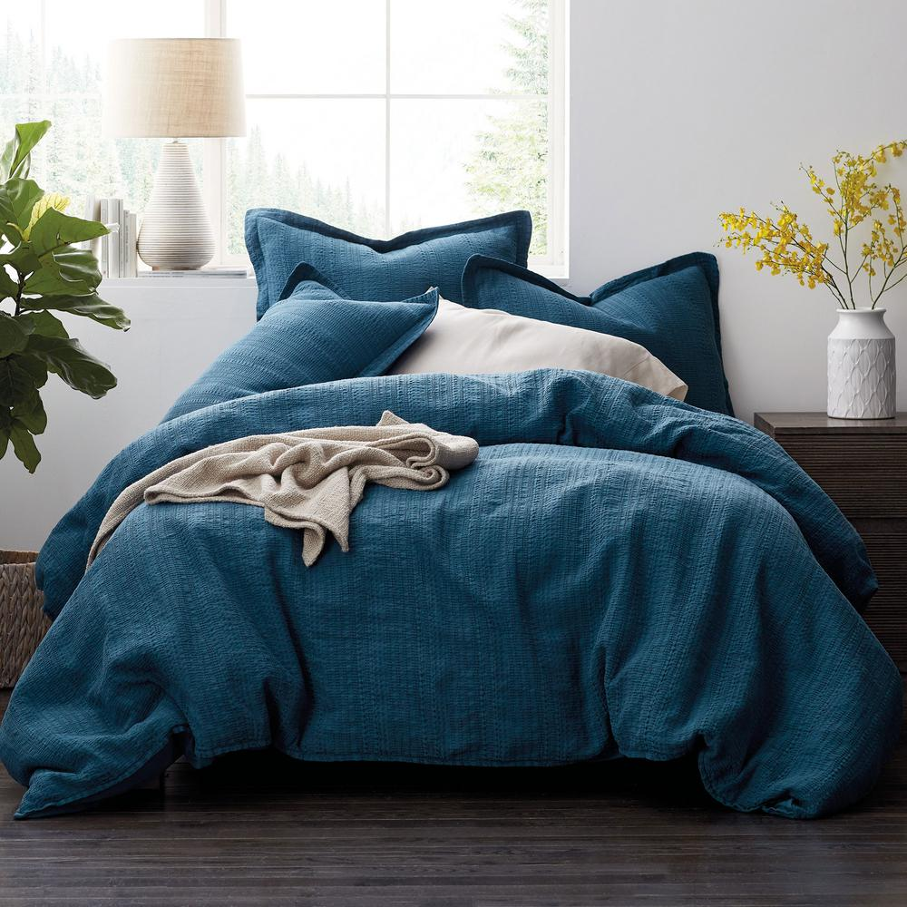 Interwoven Deep Teal Solid Cotton Blend Twin Duvet Cover
