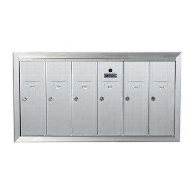 1250 Vertical Series 6-Compartment Aluminum Recess-Mount Mailbox