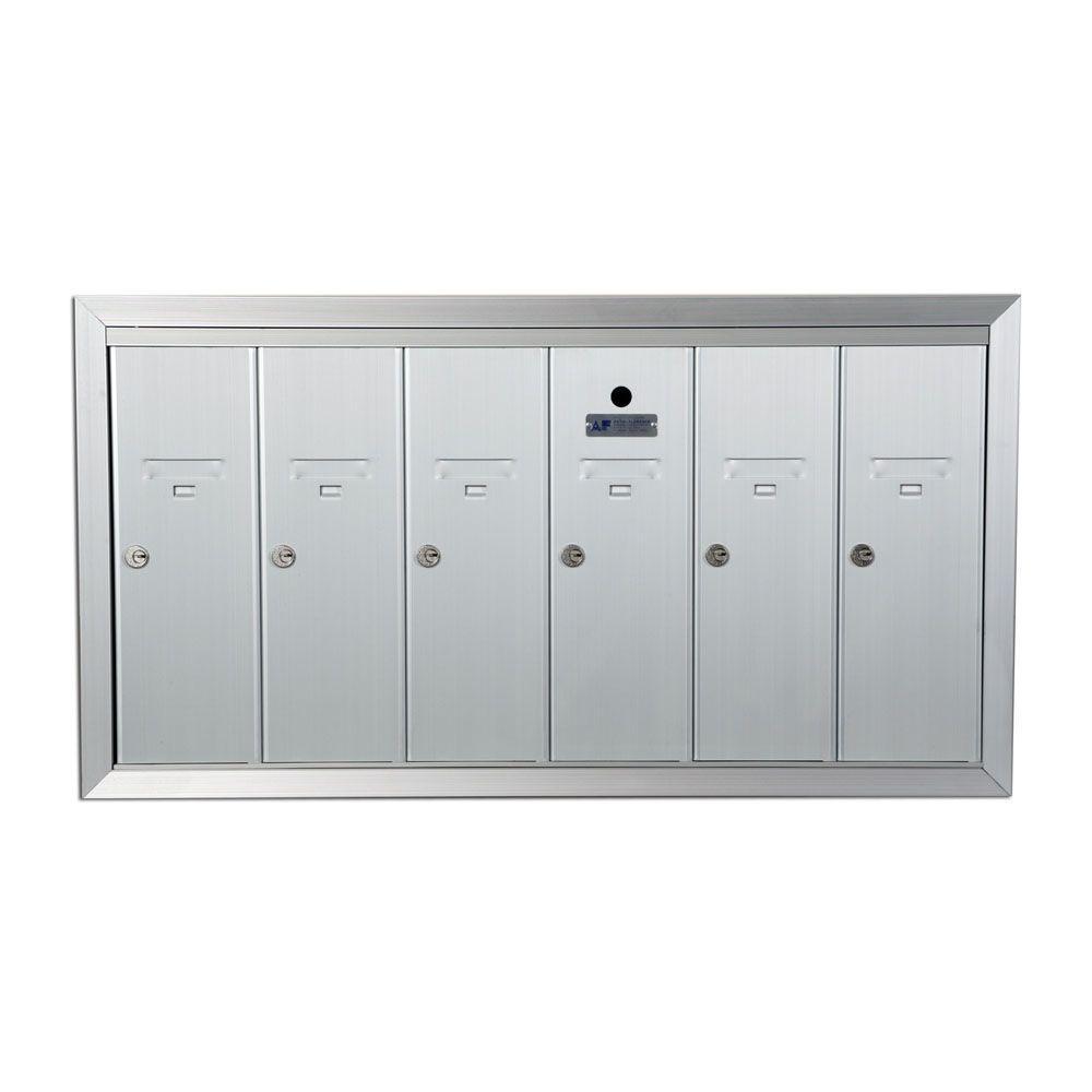 1250 Vertical Series 6-Compartment Aluminum Recess-Mount Mailbox