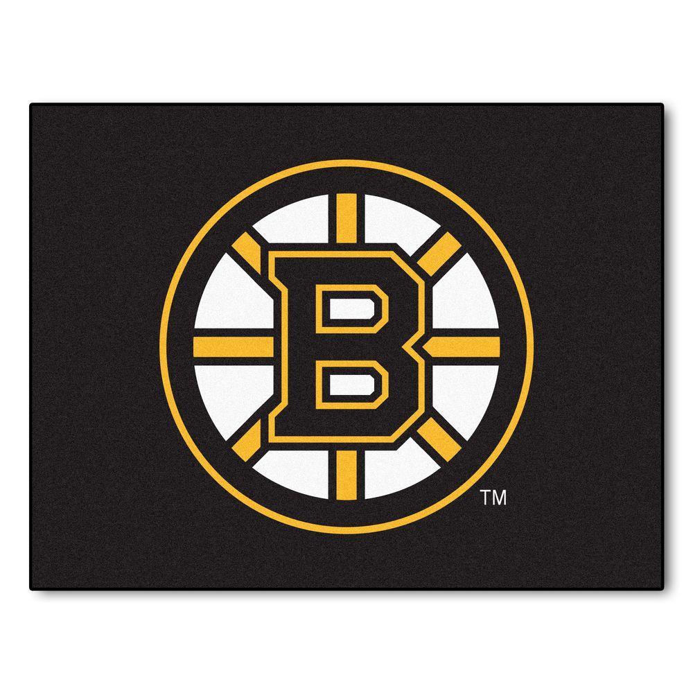 NHL Boston Bruins Black 3 ft. x 4 ft. Indoor All Star Area Rug