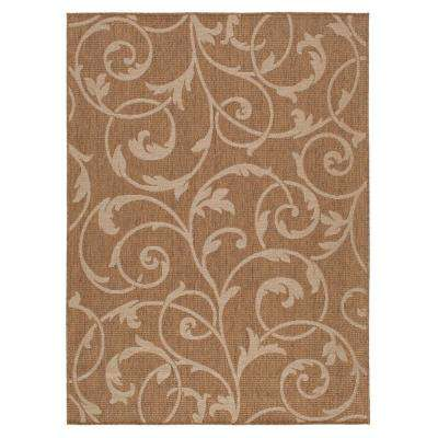 Scroll Brown/Beige 8 ft. x 10 ft. Indoor/Outdoor Area Rug