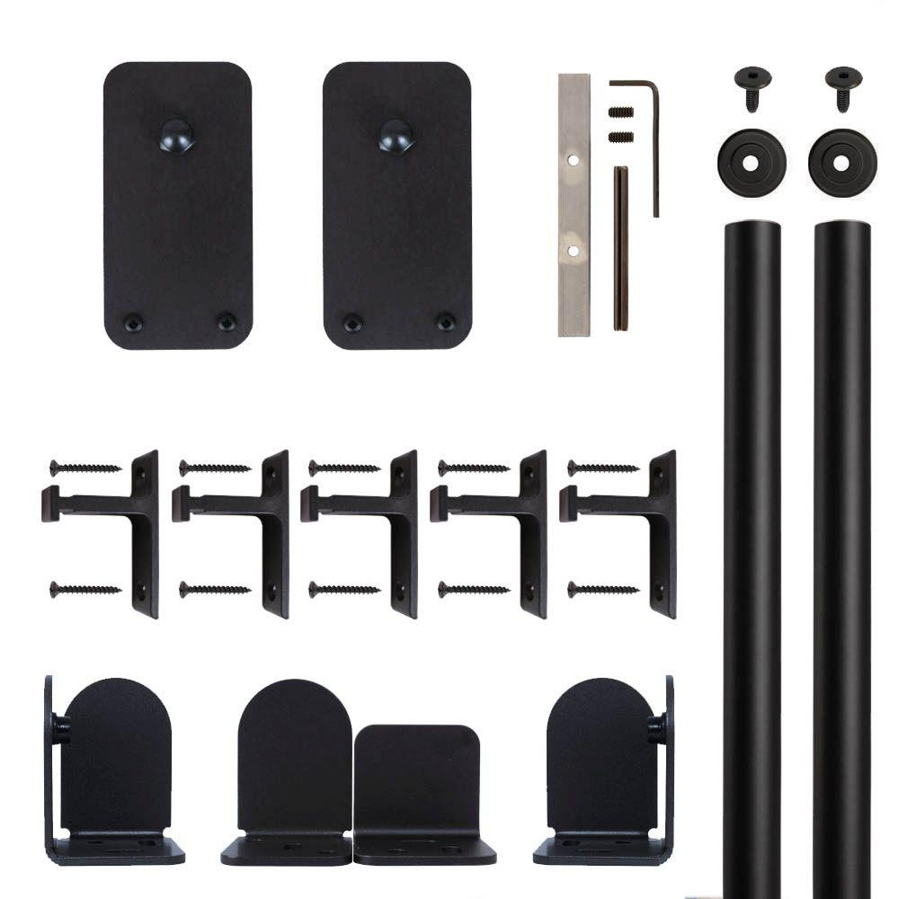Basic Rectangle Black Rolling Door Hardware Kit for 1-1/2 in. to