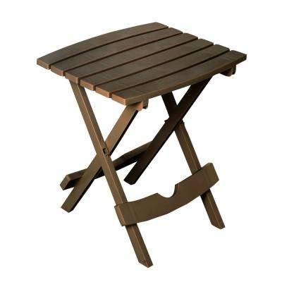 Quik-Fold Earth Brown Resin Plastic Outdoor Side Table