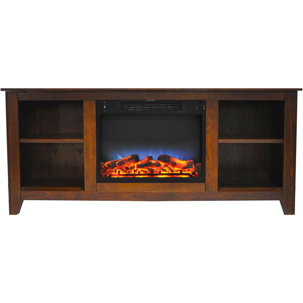 Santa Monica 63 in. Electric Fireplace and Entertainment Stand in Walnut