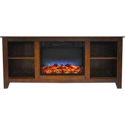 Santa Monica 63 in. Electric Fireplace and Entertainment Stand in Walnut with Multi-Color LED insert