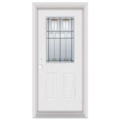 33.375 in. x 83 in. Architectural Right-Hand Patina Finished Fiberglass Oak Woodgrain Prehung Front Door Brickmould