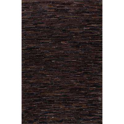Linares Abstract Dark Brown 5 ft. x 8 ft. Area Rug