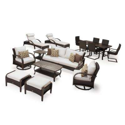 Barcelo Estate 16-Piece Wicker Patio Conversation Set with Sunbrella Moroccan Cream Cushions