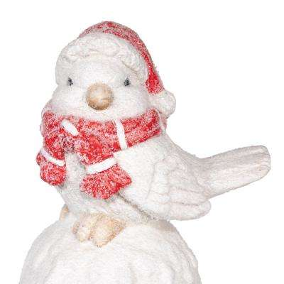 16 in. Winter Bird with in Merry Christmas Statue