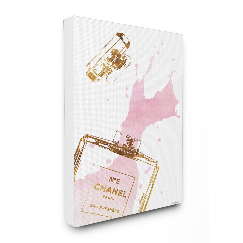 24 in x 30 in glam perfume bottle splash pink gold by amanda greenwood printed canvas wall art