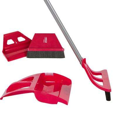Cleaning Set Red 1-Handed Telescoping Broom with Foot Operated Dustpan, Mini Whisk Brush and Mini Dust Pan Set (5-Piece)