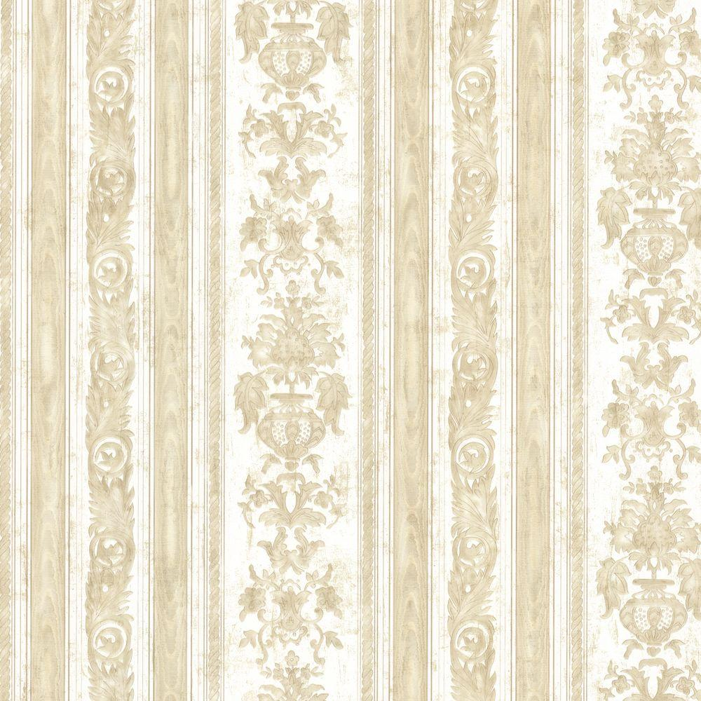 Mirage Majesty Beige Damask Stripe Wallpaper 991 68241