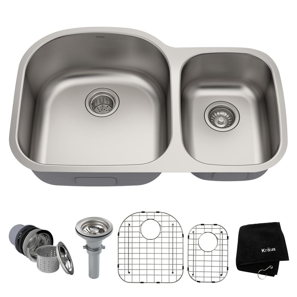 KRAUS Premier Undermount Stainless Steel 32 in. 60/40 Double Bowl ...