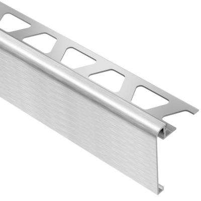 Rondec-Step Brushed Chrome Anodized Aluminum 1/2 in. x 8 ft. 2-1/2 in. Metal Tile Edging Trim