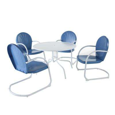Griffith 5-Piece Metal Outdoor Dining Set - 39 in. Dining Table in White with Sky Blue Chairs