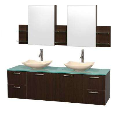 Amare 72 in. Double Vanity in Espresso with Glass Vanity Top in Green, Marble Sinks and Medicine Cabinet