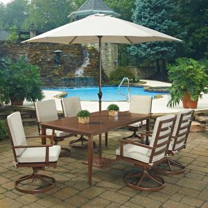 Home Styles Key West Chocolate Brown 9-Piece Extruded Aluminum Outdoor Dining Set with... by Home Styles