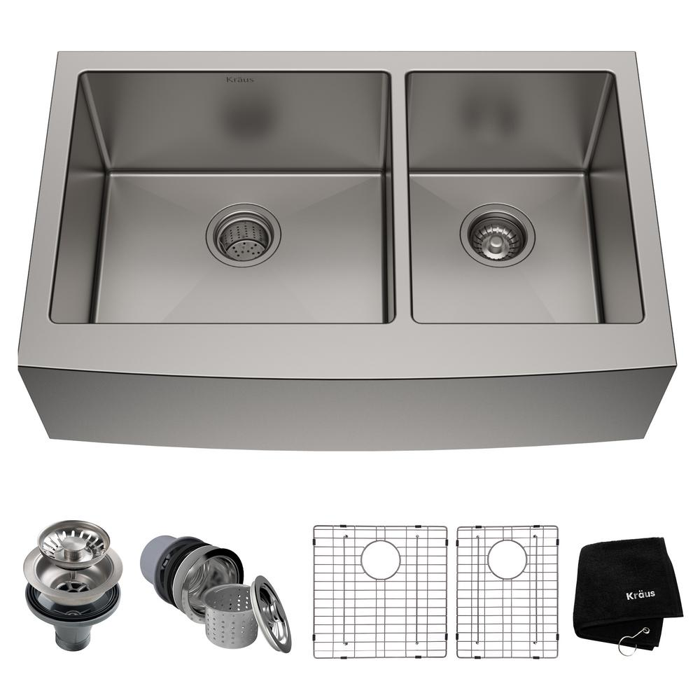 Standart PRO Farmhouse Apron-Front Stainless Steel 33 in. Double Bowl Kitchen