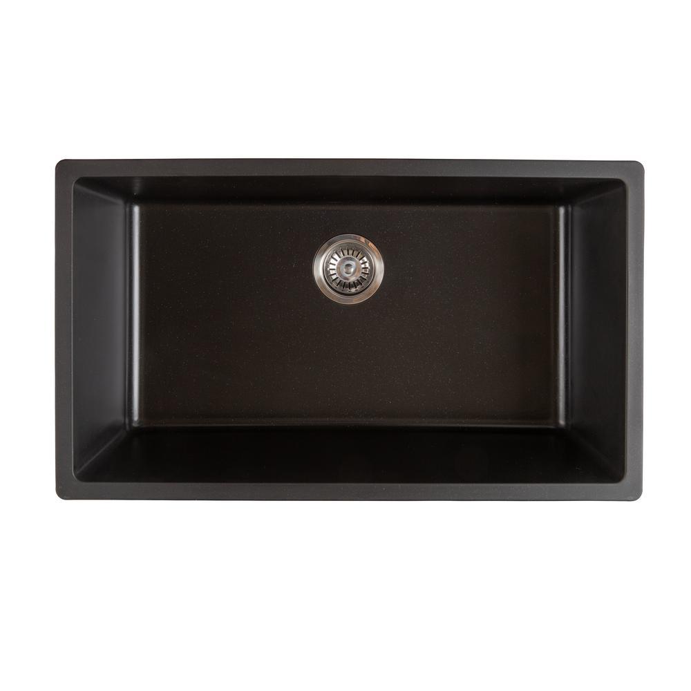 Titan Dual-Mount Quartz 31 in. Single Bowl Kitchen Sink in Black with Strainer
