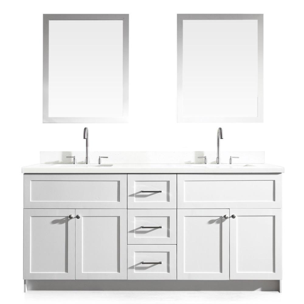 Hamlet 73 in. Bath Vanity in White with Quartz Vanity Top in White with White Basins and Mirrors