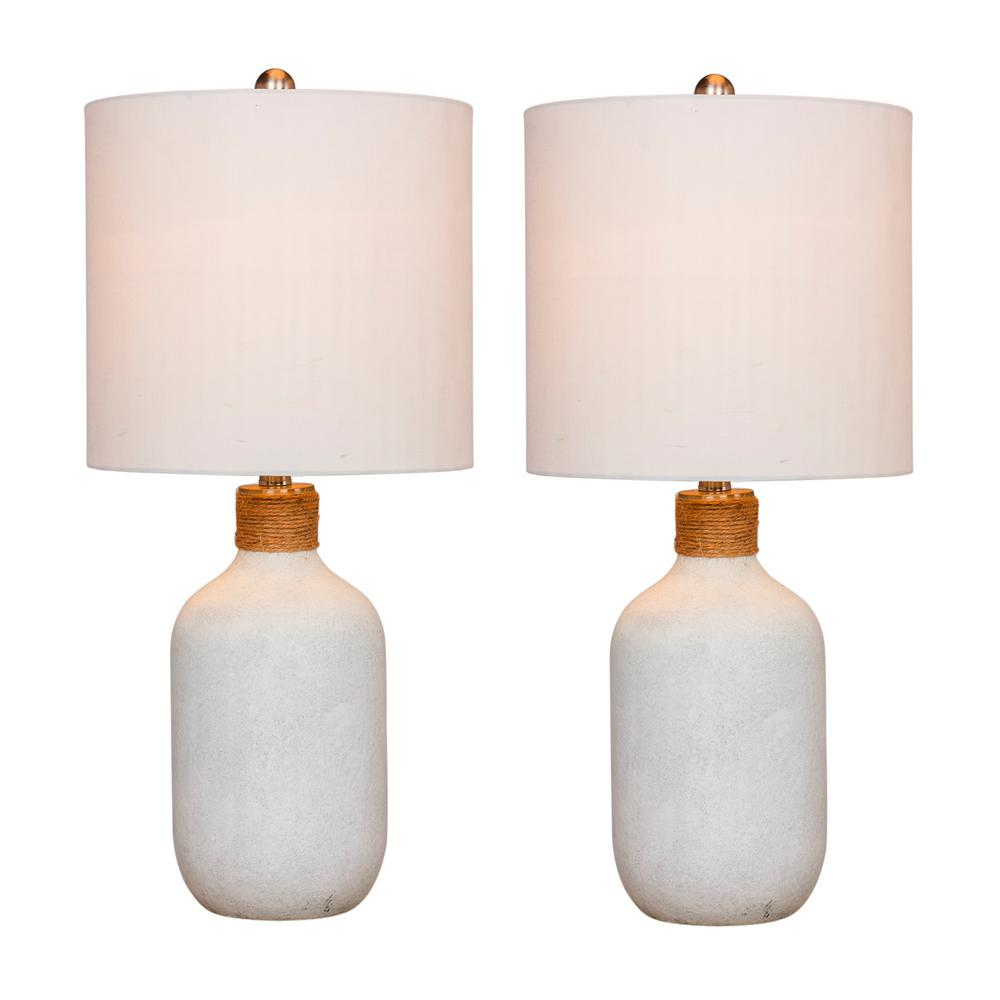 Fangio Lighting 26 in. Frosted White Island Jug Glass Table Lamps