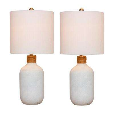 26 in. Frosted White Island Jug Glass Table Lamps
