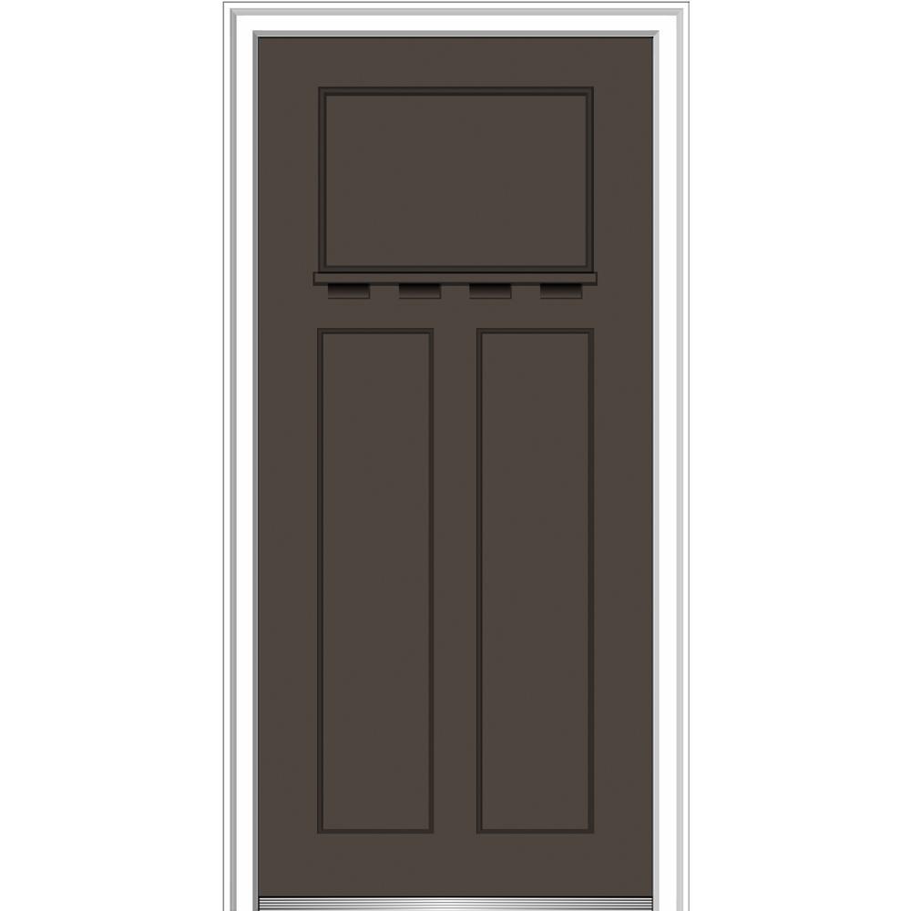 MMI Door 36 in. x 80 in. Shaker Right-Hand Craftsman 3-Panel Painted Fiberglass Smooth Prehung Front Door with Dentil Shelf