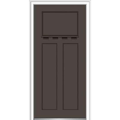32 in. x 80 in. Shaker Left-Hand Craftsman 3-Panel Painted Fiberglass Smooth Prehung Front Door with Dentil Shelf