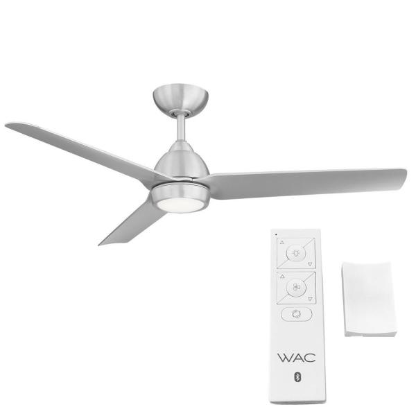 Wac Lighting Mocha 54 In Indoor Outdoor Brushed Aluminum 3 Blade Smart Compatible Ceiling Fan With Led Light Kit And Remote Control F 001l Ba The Home Depot