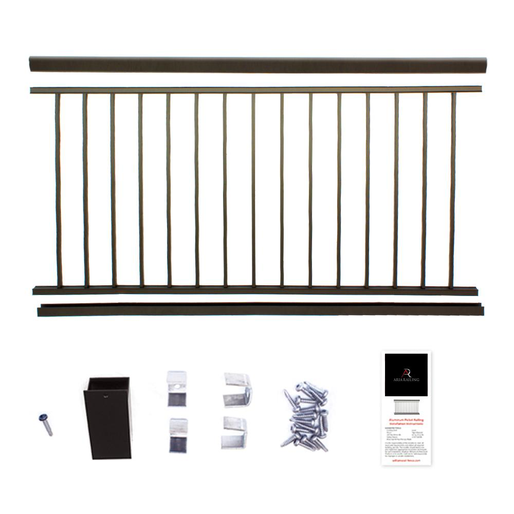 ez handrail 8 ft x 42 in textured black aluminum. Black Bedroom Furniture Sets. Home Design Ideas