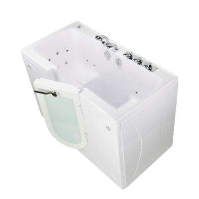 Tub4Two 60 in. Walk-In Whirlpool Bathtub in White, Right Outward Door, Heated Seat, Fast Fill Faucet, 2 in. Dual Drain