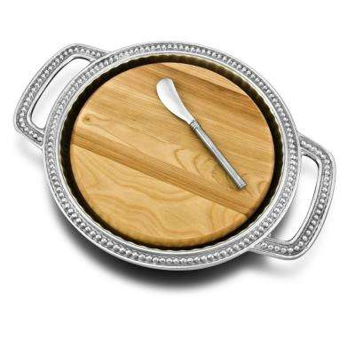 Flutes and Pearls Cheese Board with Handles and Spreader